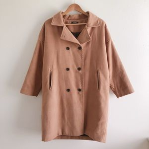 HotPing Double-Breasted Tan Coat